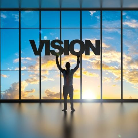 Man standing under vision