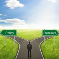 Fork in road with choices of policy or procedure