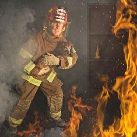 Firefighter carrying dog through fire